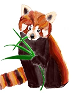 """7Dots Art. Baby Animals. Watercolor Art Print, Poster 8""""x10"""" on Fine Art Thick Watercolor Paper for Childrens Kids Room, Bedroom, Bathroom. Wall Art Decor with Animals for Boys, Girls. (Red Panda)"""