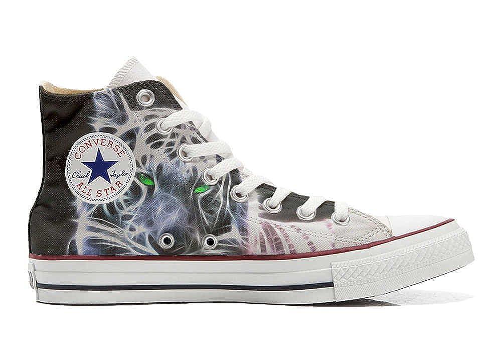Converse All Star personalisierte Schuhe - Handmade schuhe schuhe schuhe - Weiß Tiger with Grün Eyes 711a35