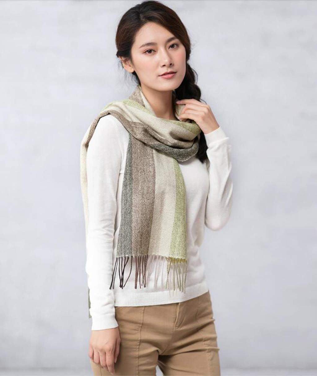 B JUN Wool Scarf Female Winter Warm Thick Versatile Shawl Dual Purpose (color   C)