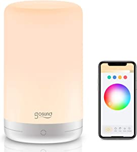 Smart Table Lamp, Gosund WiFi Touch Bedside Lamp with Micro-USB Port, Small Nightstand Lamp Works with Alexa Google Home, App Control, Dimmable and Color Changing RGB Led Night Light for Bedrooms