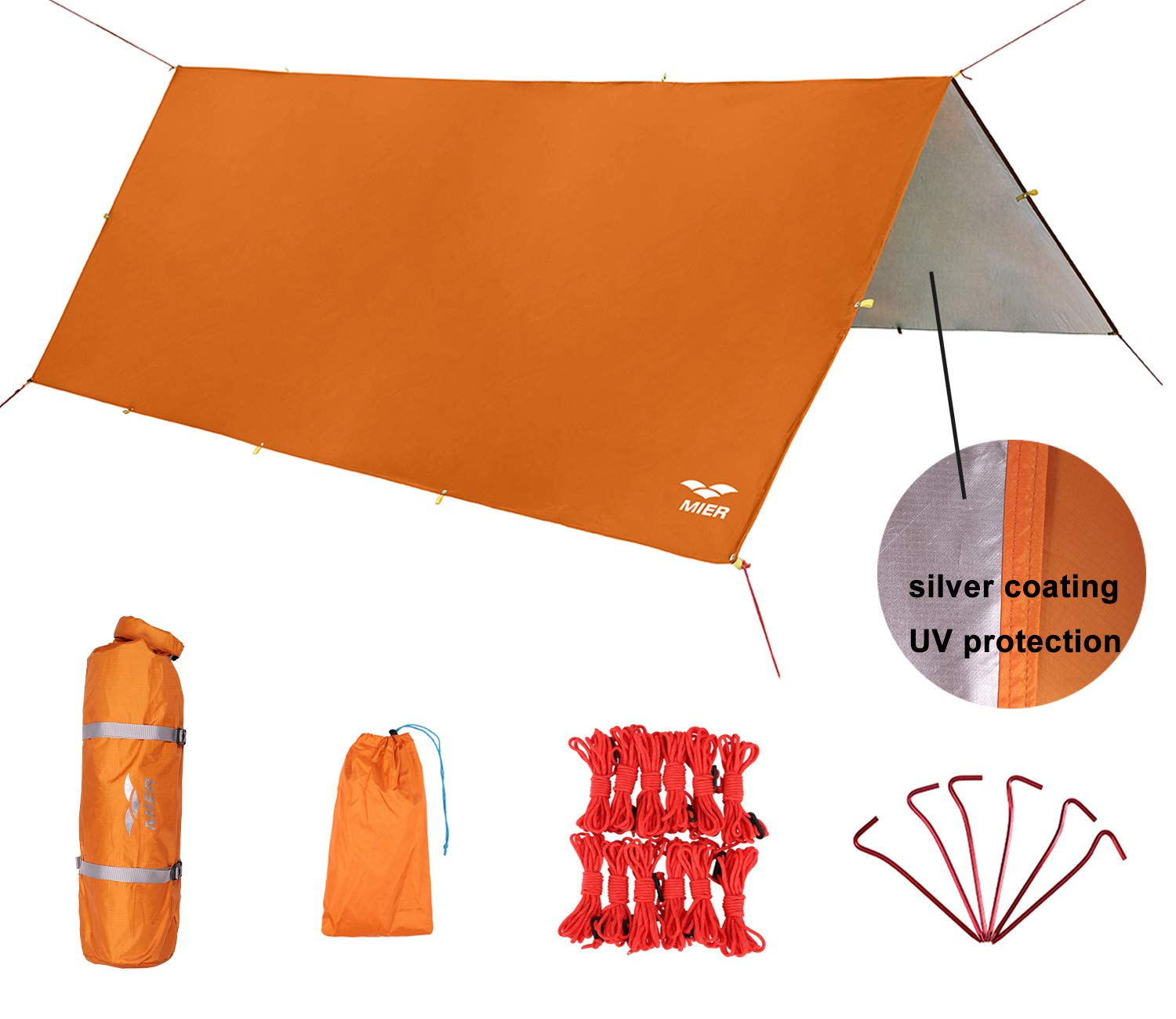 MIER Waterproof Hammock Rain Fly Lightweight Tent Tarp Camping Backpacking Tarp Shelter, 6 Stakes and 12 Ropes Included, Orange, L by MIER
