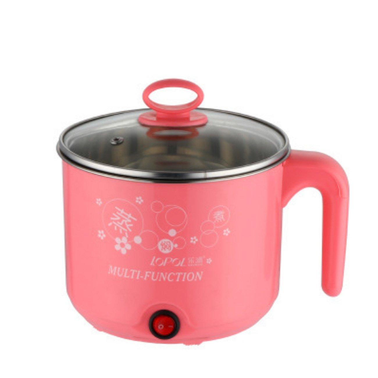 ZXMXY Multifunktionale Elektroherd Mini elektrische Hot Pot Schlafsaal Student Kochtopf Edelstahl Doppel Ei Steamer Gemüse Steamer zum Kochen nach Hause (Capacity : With steamer, Color : Blue)