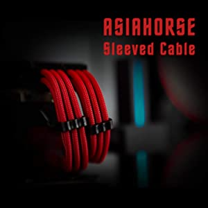 Asiahorse Customization Mod Sleeve Extension Power Supply Cable Kit 18AWG ATX/EPS/8-pin PCI-E/6-pin PCI-E (red) (Color: psc0002, Tamaño: 30CM PURE COLOR)