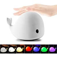 Allnice 4-Modes Children Night Light, USB Rechargeable Dolphin Night Light With Warm White, Strong White, 5 Single Colors and 5-Color Breathing Modes, Sensitive Tap Control for Baby Adults Bedroom