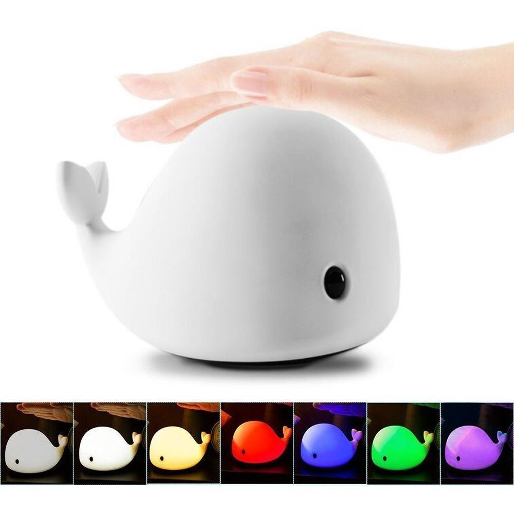Mystery 4-Modes Children Night Light, USB Rechargeable Dolphin Night Light With Warm White, Strong White, 5 Single Colors and 5-Color Breathing Modes, Sensitive Tap Control for Baby Adults Bedroom by Mystery
