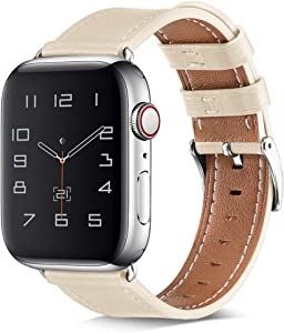BELONGME Compatible with Apple Watch Band 44mm 42mm 40mm 38mm, Genuine Leather Replacement Strap for iWatch SE & Series 6/5/4/3/2/1