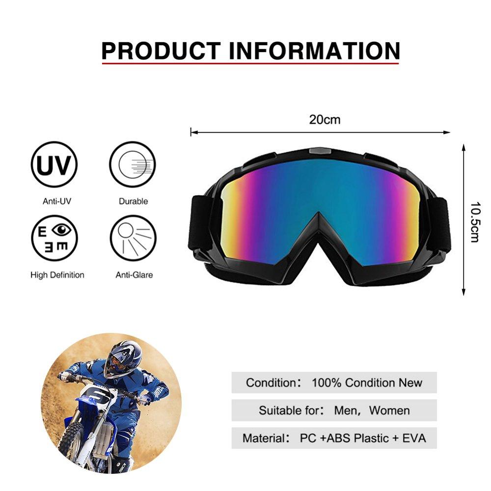 Bicicletta Google Anti-UV Anti-Sand Anti-Nebbia Cross ATV Viso Occhiali da Sole di Protezione Maschera Occhialoni Moto Scooter per Attivit/à Esterna Motocicletta Motociclo Snowmobile Sci