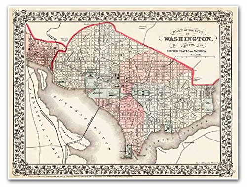 MAP Plan of the City of Washington DC & Georgetown circa 1867 - measures 18