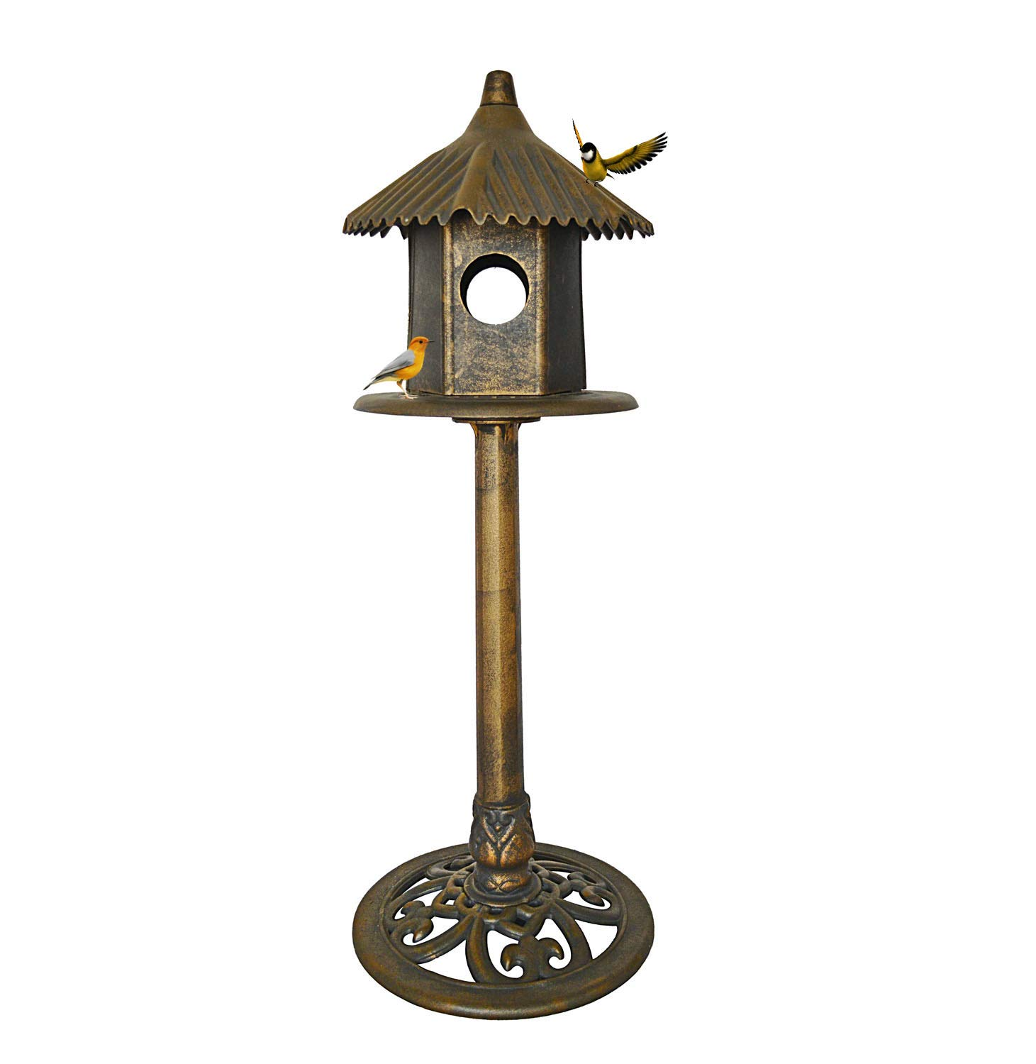 PierSurplus Bird House for Outside Outdoor Free-Standing Classic Heights with Domed Roof and Pedestal Base
