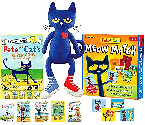 """(Pete the Cat's Super Cool Reading Collection (5 Books), 14.5"""" Plush Toy & Matching Game Gift)"""