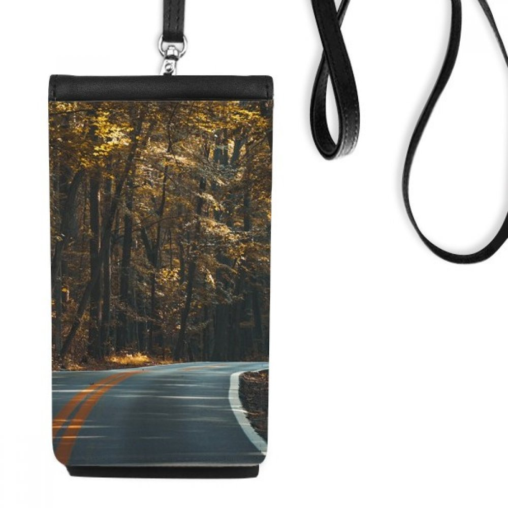 Road Grass Forest Autumn Travel Dark Faux Leather Smartphone Hanging Purse Black Phone Wallet Gift