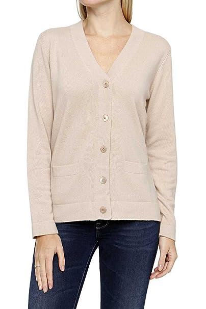 Pullover mit v ausschnitt und knöpfen an der seite beige La