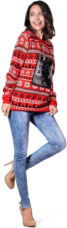 Klassische Fairisle Damen Weihnachtspullover Lustig Unisex H/ässliche Pulli Strickpullover Ugly Weihnachtspulli