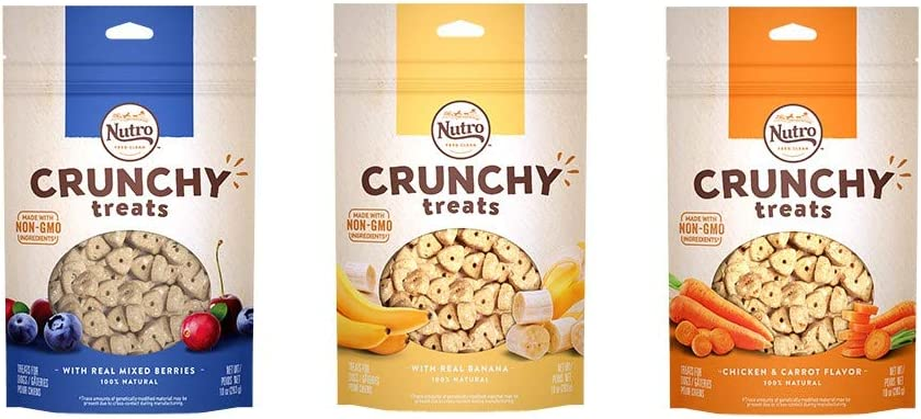 Nutro All Natural Crunchy Training Treats For Dogs 3 Flavor Variety Bundle: (1) Nutro Treats W/Real Banana, (1) Nutro Treats W/Real Mixed Berries, (1) Nutro Treats W/Real Carrots, 10 Oz Ea (3 Bags)