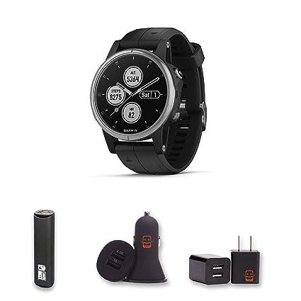 Garmin Fenix 5S Plus - (Silver with Black Band) + PowerBank + USB Car