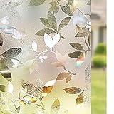Rabbitgoo 3D Window Films Privacy Film Static Cling Decorative Leaf Film Non-Adhesive Heat Control Anti UV 35.4in. By 78.7in. (90 x 200CM)