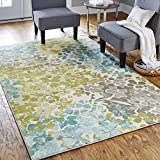 Mohawk Home Aurora Radiance Abstract Floral Printed Area Rug, 7'6x10', Aqua Blue
