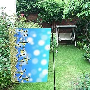InterestPrint Happy More Custom - Bandera de jardín doble con diseño de césped y peces, 30,5 x 45,7 cm