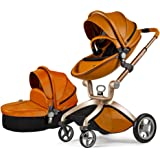 Baby Stroller 2017, Hot Mom 3 in 1 travel system and Bassinet Combo,Brown