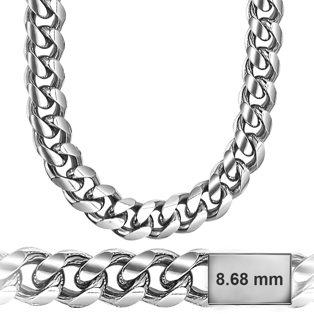 925 Sterling Silver 8.6mm Open Curb Chain Necklace