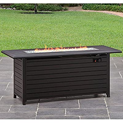 """Better Homes and Gardens Carter Hills, Durable and Rust-Resistant Design 57"""" Rectangular Gas Fire Pit, with Stainless Steel Burner"""