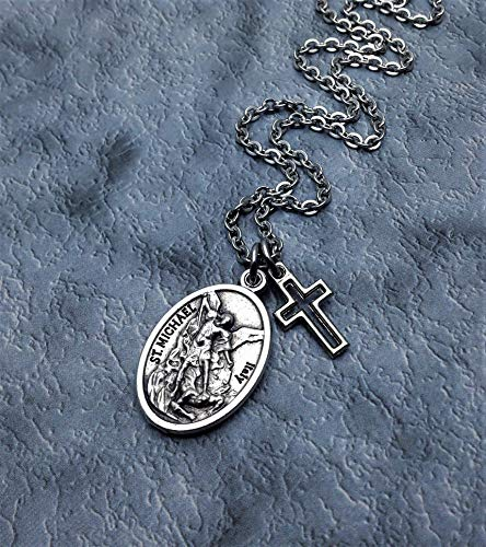 Silver Plated Saint Michael and Guardian Angel Necklace. Protection Necklace -