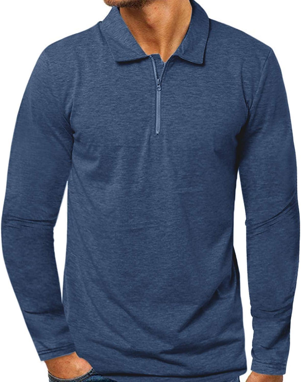 MODCHOK Men's 1/4 Zip Long Sleeve Shirt Casual Pullover Slim Fit Polo Zipper Cotton Shirts