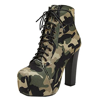 Harshion Ankle Shoes Hot Ladies Fashion Lita Platforms High Heels Lace up Boots Women