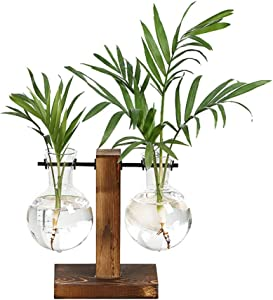 Plant Terrarium with Wood Stand Frame Clear Glass Bottle Pot Metal Swivel Holder Hydroponic Plant Tabletop Hanging Vase Planter For Garden Flower Home Decor Party Gifts (C)