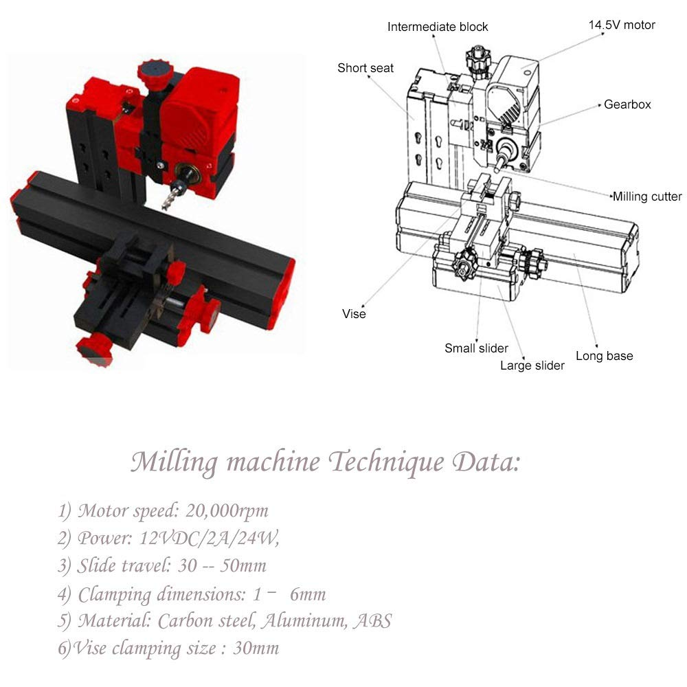 Wood Metal Lathe Milling Drilling Mini Multipurpose Machine 6 In 1 Diy Tool Kit for DIY Assembly of Sawing Machine and Grinder