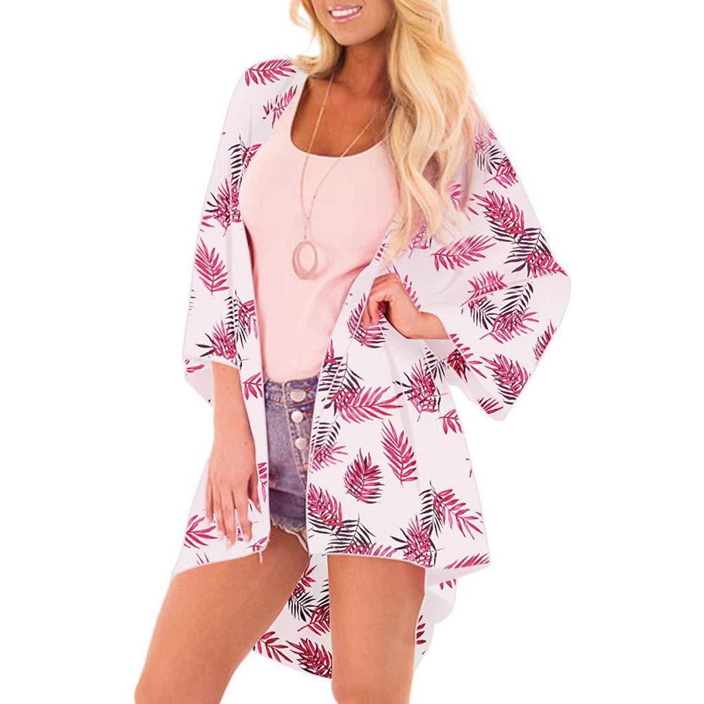 NUWFOR Women Fashion Chiffon Leaf Coat Tops Suit Bikini Swimwear Beach Swimsuit Smock(Pink,XXL US Bust:44.88'')
