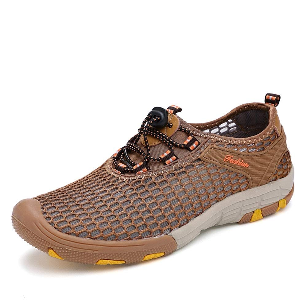 Brown 8 UK Shangruiqi Comfortable Breathable Casual shoes for Men Mesh Upper Outdoor Sport Hiking Sneakers Anti-Slip Flat Lace Up Colliosion Avoidance Round Toe Anti-Wear (color   Brown, Size   8 UK)