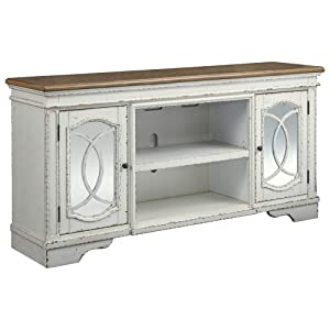 Ashley Furniture Signature Design - Realyn Extra Large TV Stand with Fireplace Option - Farmhouse - Chipped White