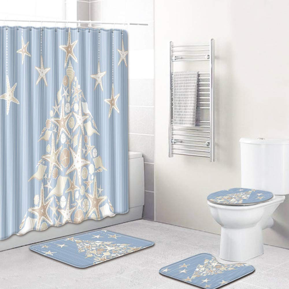 ETH Christmas Tree Pattern Shower Curtain Floor Mat Bathroom Toilet Seat Four-Piece Carpet Water Absorption Does Not Fade Versatile Comfortable Bathroom Mat Can Be Machine Washed Durable by ETH