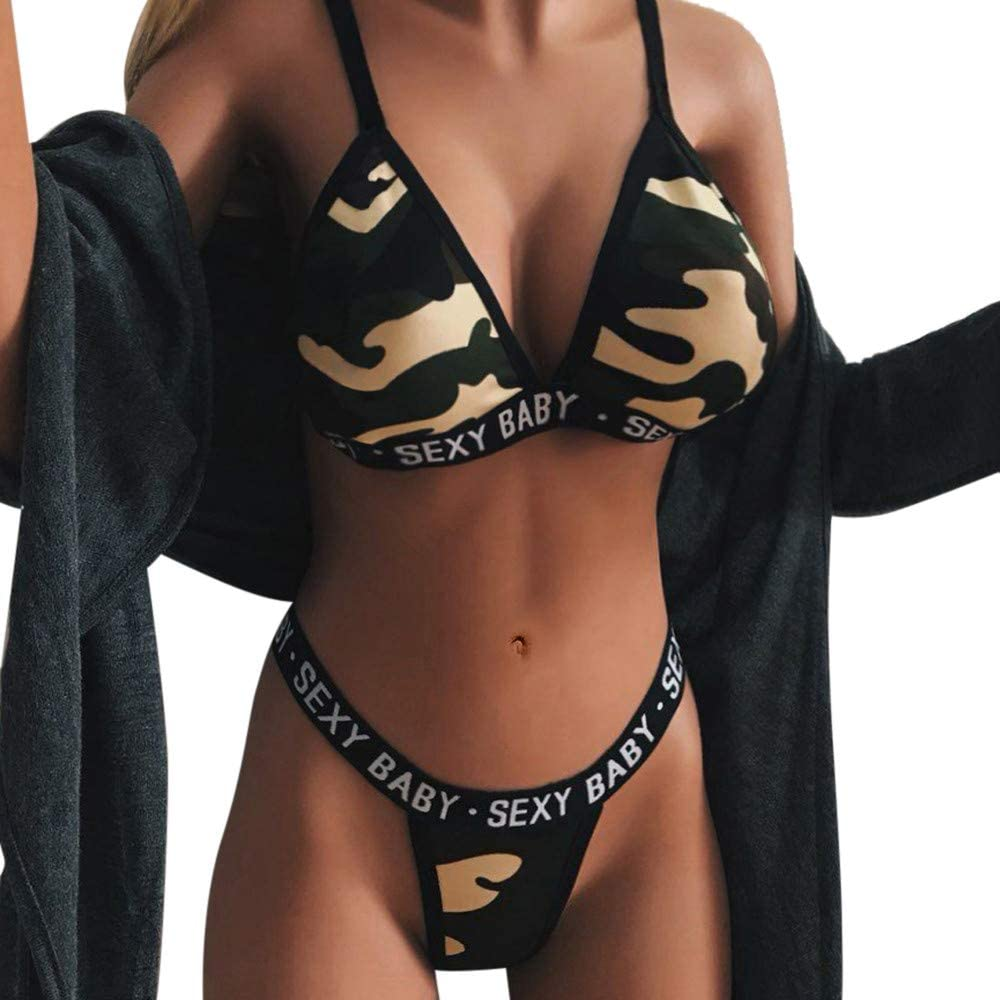 Amazon Com Howstar Women S Sexy Underwear Set Camo Printed Bra And Panty Babydoll Set 2 Piece Mini Sleepwear Lingerie Clothing