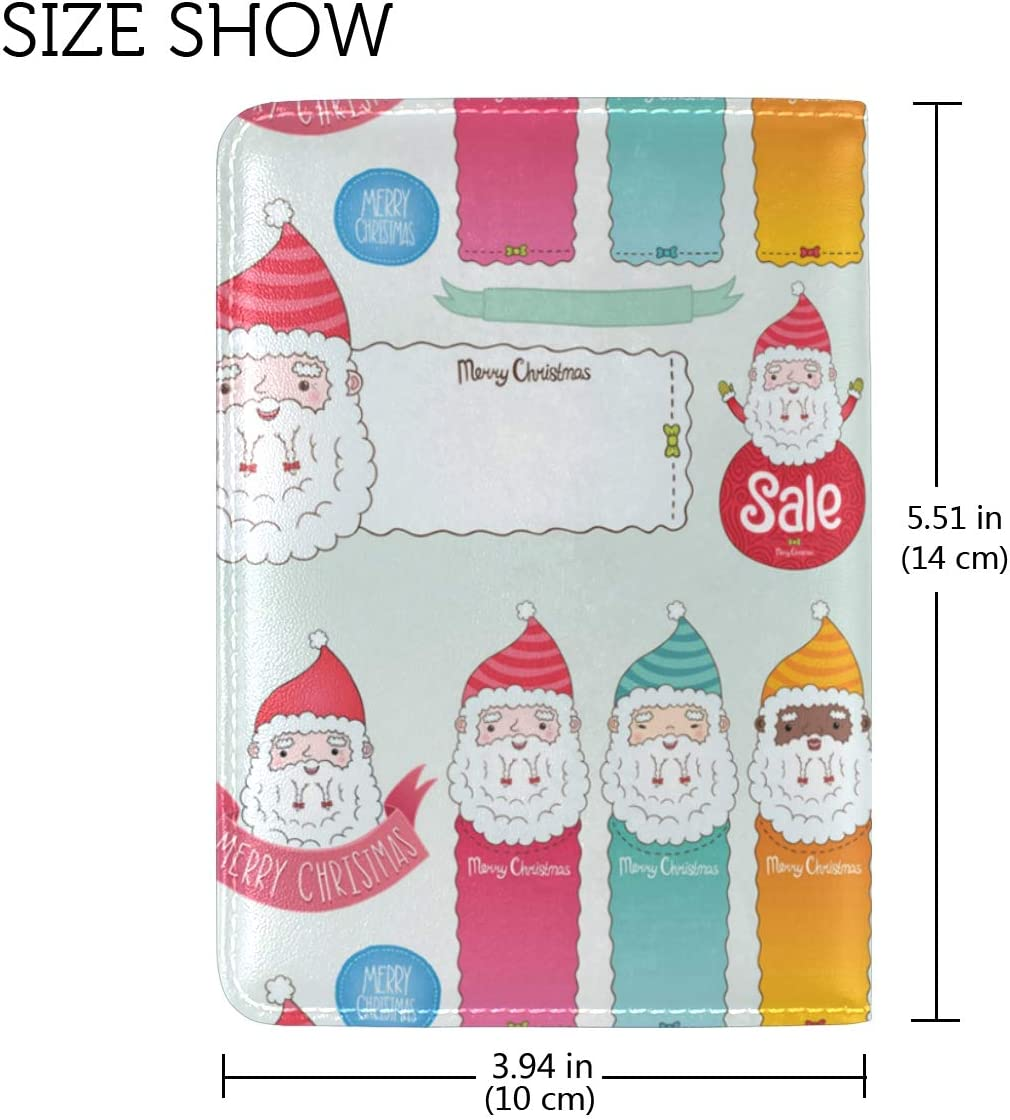 Dear Lovely Santa Claus Leather Passport Wallet for Passport Holder for Safe Trip durable Easy to Carry