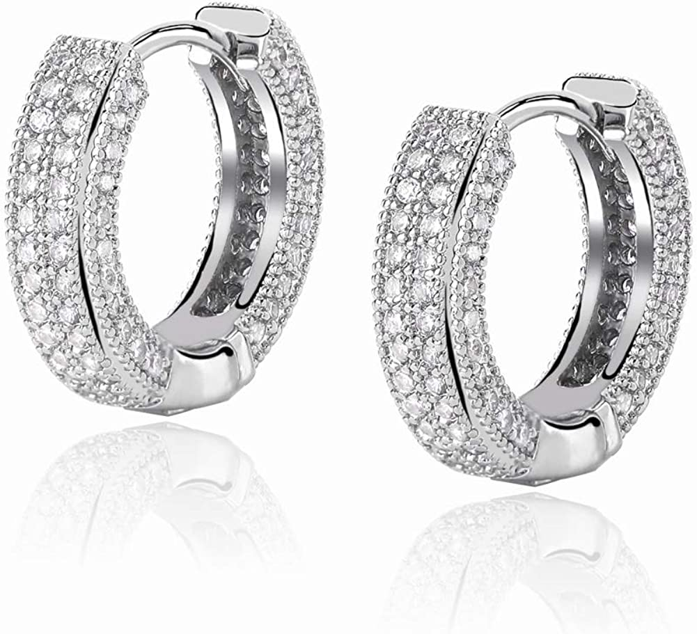 TOPGRILLZ 14K Gold Plated Iced Out Hypoallergenic Cubic Zirconia Huggie Cartilage Cuff Hoop Earrings for Women