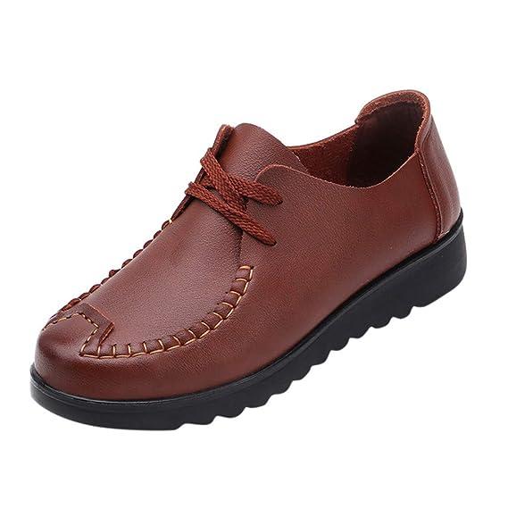 Mocasines para Mujer,ZARLLE Zapatillas de Cuero Respirable Ligero, Sandalias Loafers Cómodos Transpirables Zapatos de Conducción de Verano para Señoras: ...