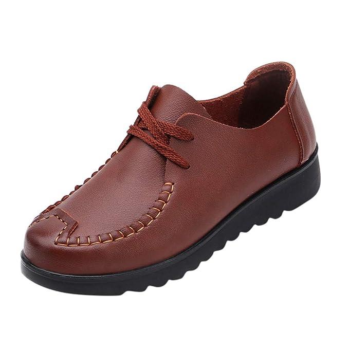 Darringls_Zapatos para Mujer,Botines Ocio de Mediana Edad con Cordones, Zapatos Planos con Punta Redonda, Fondo Suave, Zapatos Individuales: Amazon.es: Ropa ...