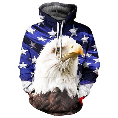 Your Love Fashion USA Flag Eagle Hoodie Hooded Sweats Tops Hip Hop Sweatshirt Outerwear Hoody