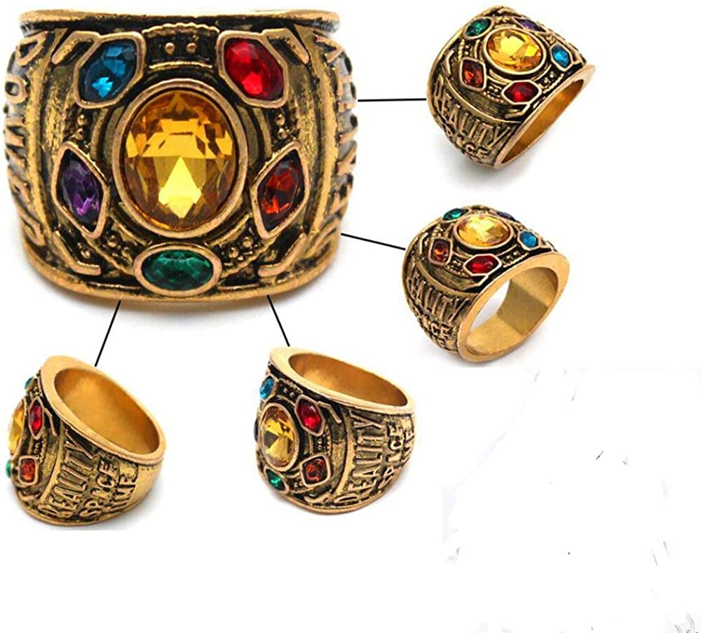 Hot Avengers Infinity War Thanos Golden Gauntlet Metal Ring Costume Accessory