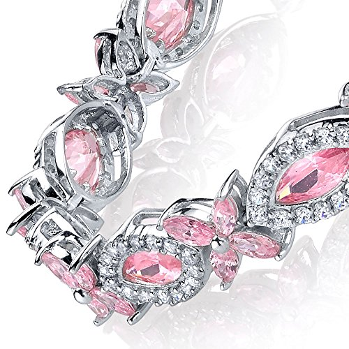 (Sterling Silver Cubic Zirconia Pink Marquise Tennis Bracelet set with)