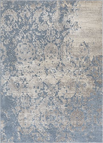 Well Woven Forte Blue Microfiber High-Low Pile Vintage Abstract Erased Floral 8x10 (7'10