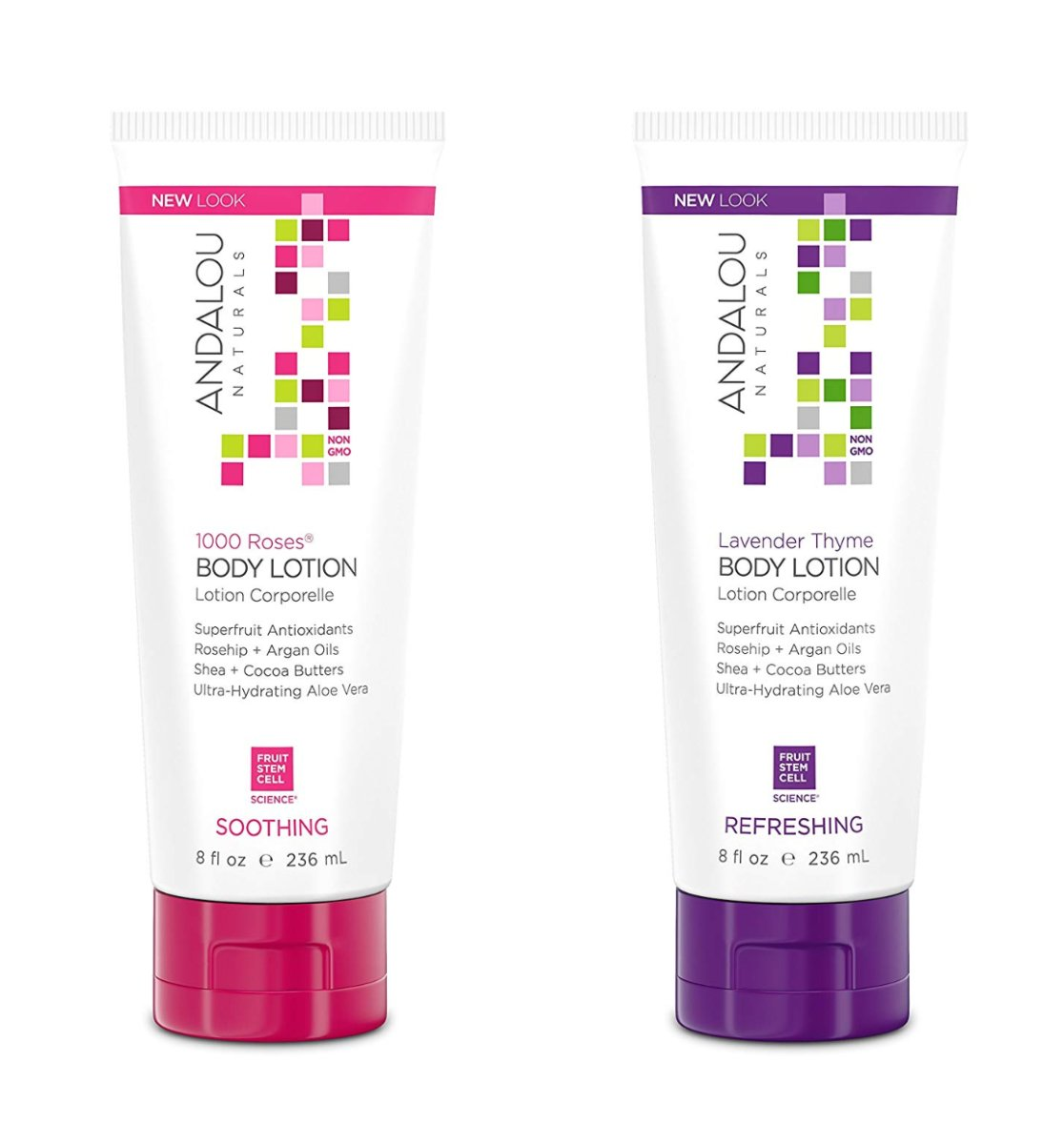 Andalou Naturals 1000 Roses & Lavender Thyme, 8 Ounce Variety Pack (BODY LOTION)