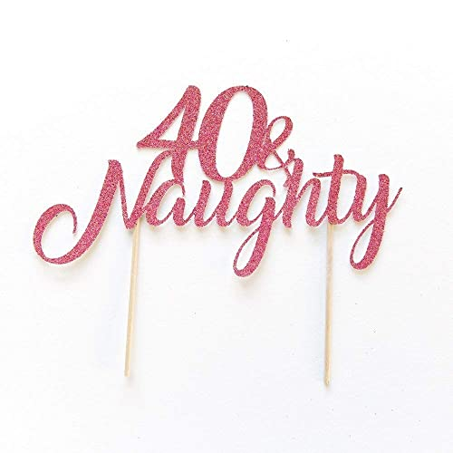 40th Birthday Cake Topper Party Decoration Written 40 And Naughty Personalised With Any Age Present