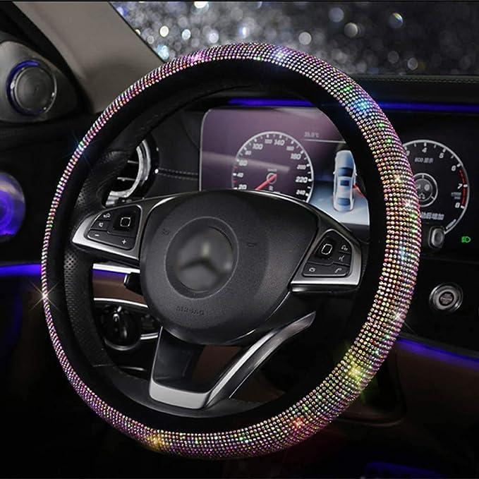 Bling Bling Lenkradabdeckung Mit Kristall Strass Diamant Universal Fit 15 Zoll Anti Rutsch Lenkradschutz Für Frauen Mädchen Fxpt Auto