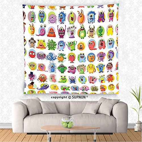 VROSELV custom tapestry Animation Tapestry Cute Little Graphic Baby Mosters Great for Kids Nursery Room Colored Cartoons Art Wall Hanging for Bedroom Living Room Dorm Multicolor