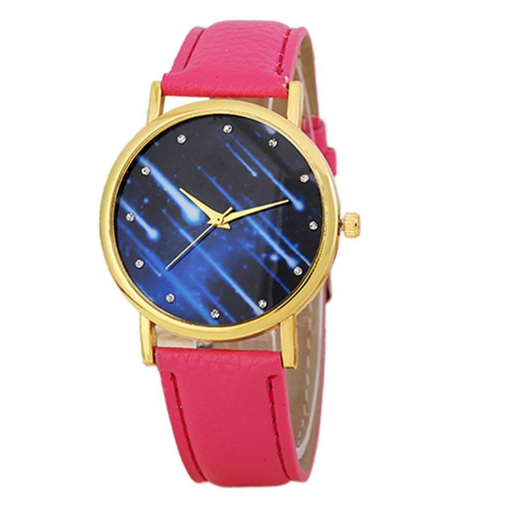Mandy 2016 Leather Band Analog Quartz Wrist Watch Hot Pink