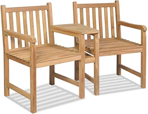Tuduo Juego de sillas de jardín 2 Unidades de Teca con Agujero para sombrilla diseño Sencillo y Elegante, Robusto y Estable Silla Exterior Taburete Bar sillones jardín: Amazon.es: Jardín