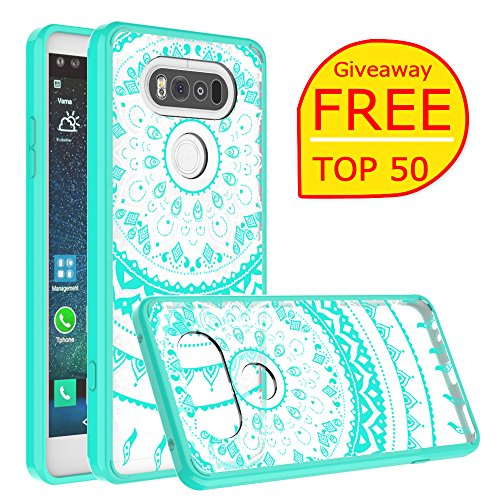 Price comparison product image LG V20 Case, AnoKe LG V20 Clear Case,Scratch Resistant Glitter Mandala Flower Ultra-Thin Slim-Fit Women Girls Acrylic Hard Cover TPU Bumper Hybrid Protective Phone Case Cover for LG V20 TM CH Mint